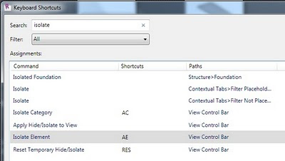 Revit 2011 Secret #5 - Isolate Elements can have a Keyboard Shortcut