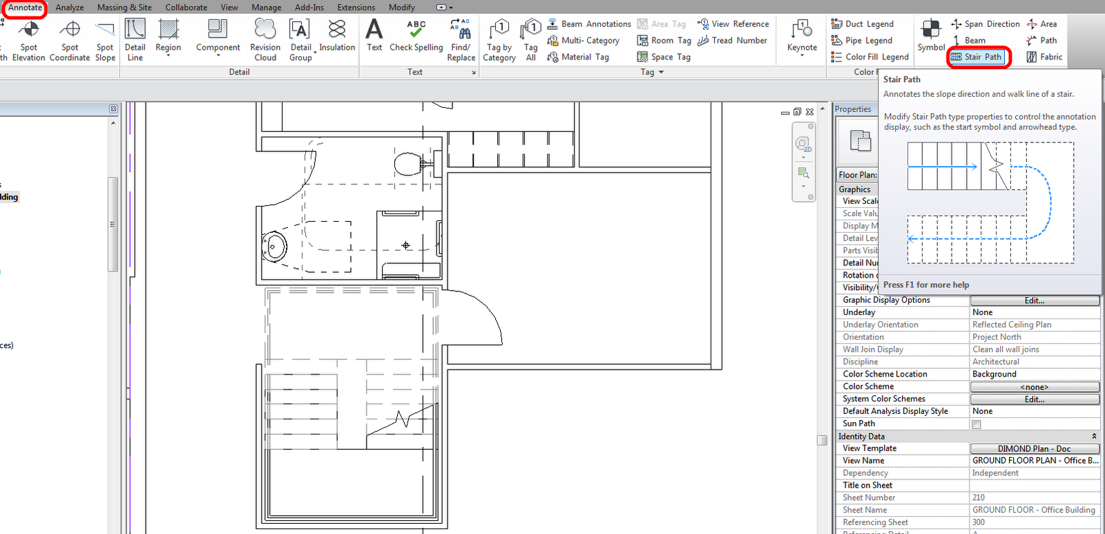 Stair path annotations in revit 2013 what revit wants in revit 2013 when using component stairs the stair path becomes a separate element think of it as a special tag for stairs pooptronica