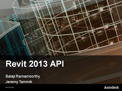 Revit 2013 API – Intro and New Features Video for download with Samples