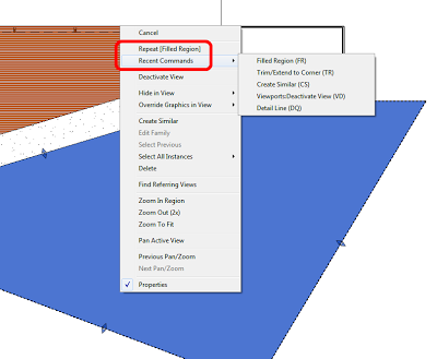 Repetitive tasks in Revit?  Don't forget about right-click Recent Commands …