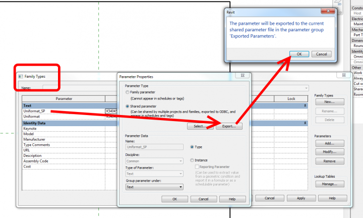 To rebuild a Shared Parameter file, use the Export option from Family or Project