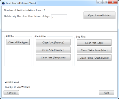 Free Revit Journal file Cleaner tool from Dante van Wettum