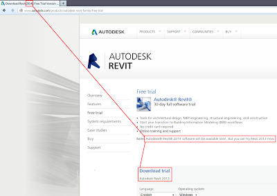 """Download Revit 2014"" in Autodesk page title… (image)"