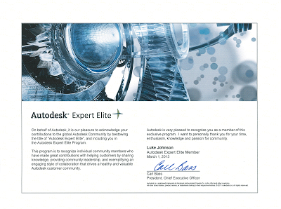 I am now an Autodesk Expert Elite Member