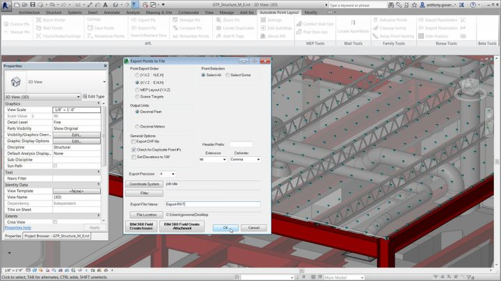Using your Revit model for construction site layout by converting to points with Point Layout