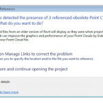 Opening a Revit 2013 file with PCG clouds in Revit 2014...