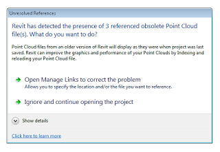 Opening a Revit 2013 file with PCG clouds in Revit 2014…