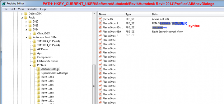 You Can Add Revit Server subfolders directly to the Places List