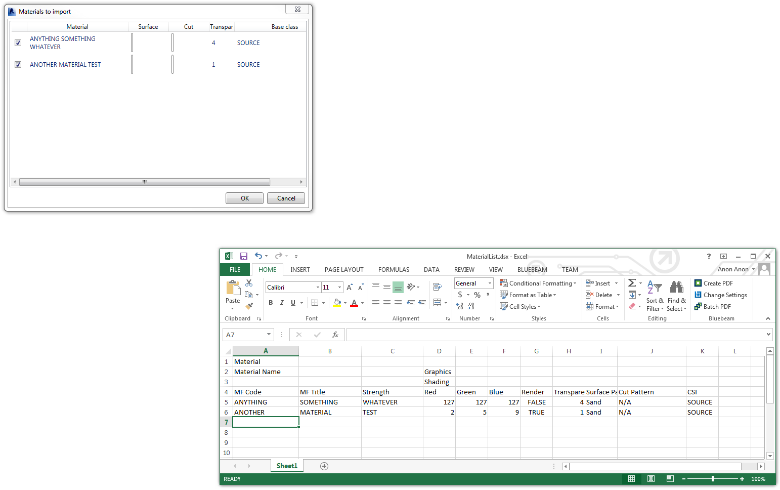 Add New Materials to Revit using an Excel file: including