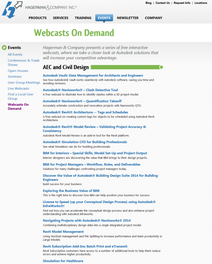 Autodesk product Webcasts On Demand from Hagerman & Company, Inc.