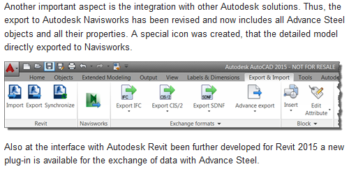 Autodesk Advance Steel 2015 now available, with Revit and Navisworks Integration