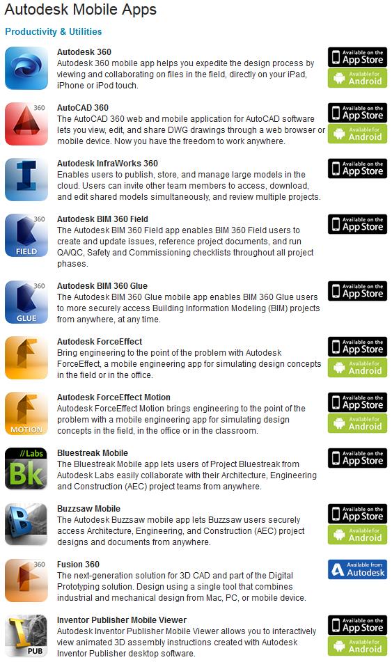 Autodesk Mobile App Links