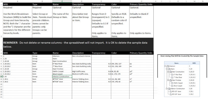 Excel template for download: Navisworks Quantification