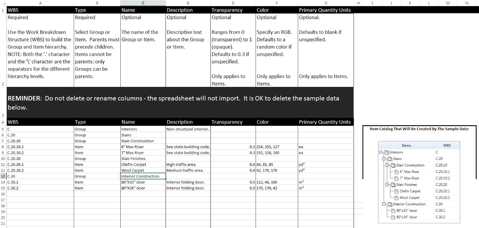 excel template for download navisworks quantification catalog