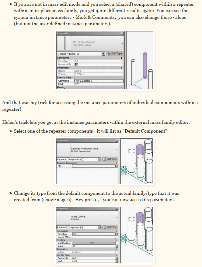 Two Ways to Access Instance Parameters of a Revit Repeater (from RevitCat)