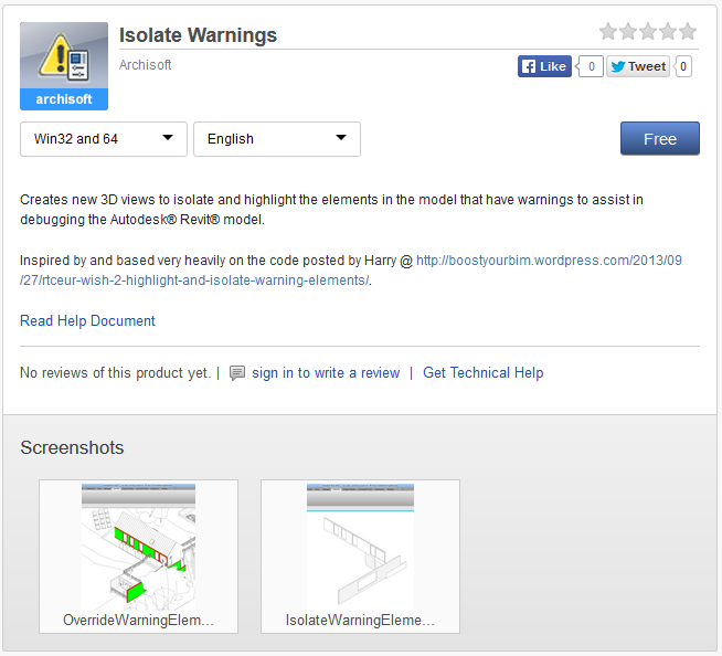 Free Isolate Warnings addin for Revit by Archisoft