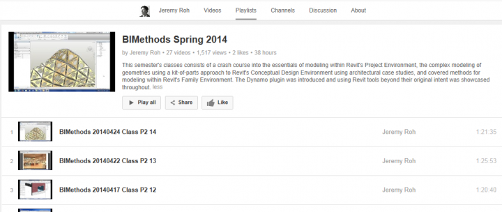 Free BIMethods video series covering topics including parametric towers, adaptive components, curtain panel pattern-based families, double-curtain wall systems