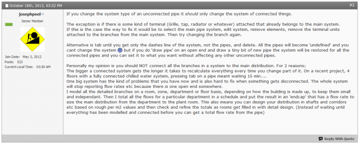 Changing Pipe from One System to Another (and Undefining MEP Systems). Plus upgrading Systems to Revit 2015…