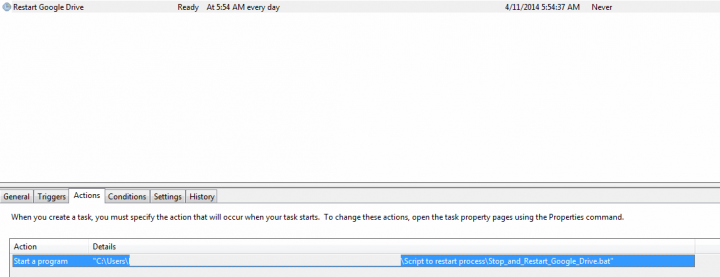 Restart Google Drive process automatically each day with a Windows Task to Fix Sync Problems