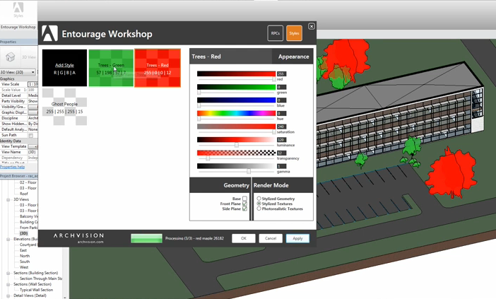Entourage Workshop will allow you to override individual RPC styles in Revit (by Archvision, new feature coming soon)
