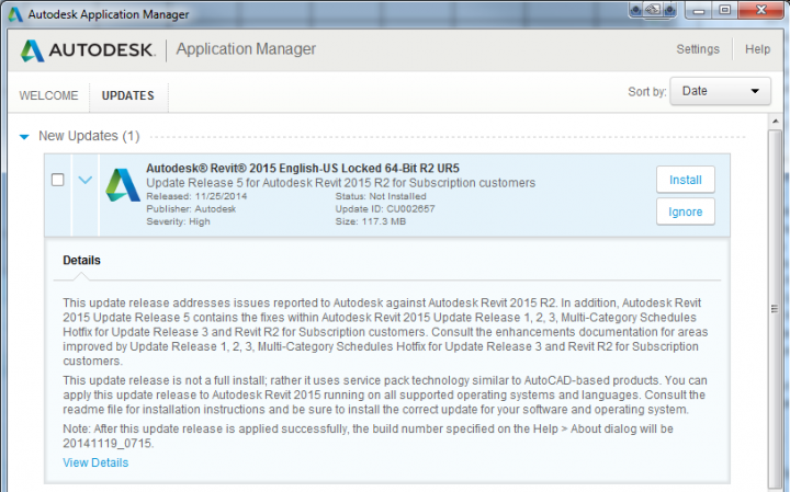 Revit 2015 Update Release 5 (build 20141119_0715) for Revit 2015 R2 download link
