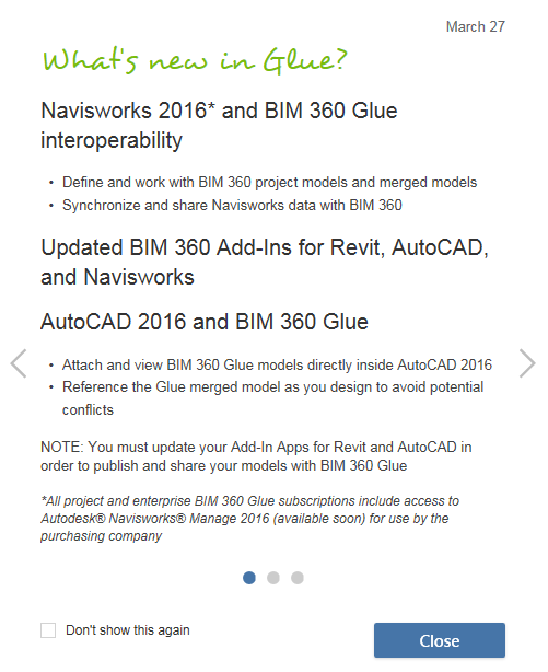 Glue Updates and 2016 New Features (Navisworks Manage 2016 for every Glue user :-)