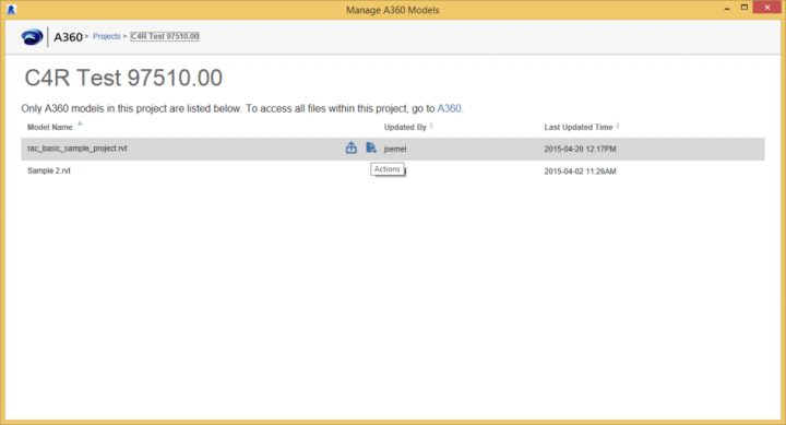 """Access Backups for A360 Collaboration for Revit Models using """"Manage A360 Models"""""""