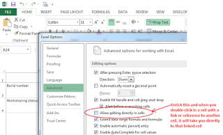 Double-click to go directly to linked cell in Excel