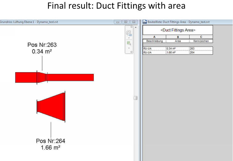 Calculate Duct Fitting Area and Write to Parameter for