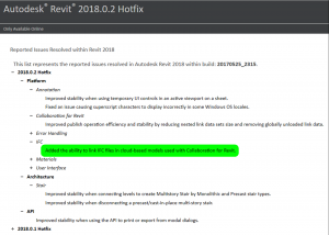 Autodesk Revit 2018.0.2 Hot Fix For Download, Enables IFC Linking with C4R