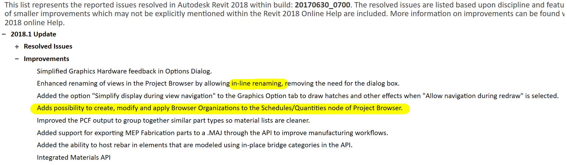 Revit 2018 1 Update Download Link, brings Browser Organisation for