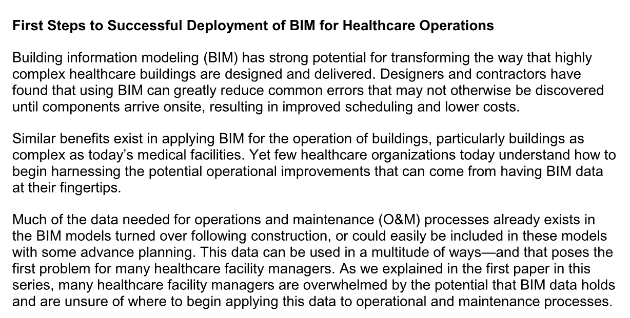 First Steps to Successful Deployment of BIM for Healthcare Operations
