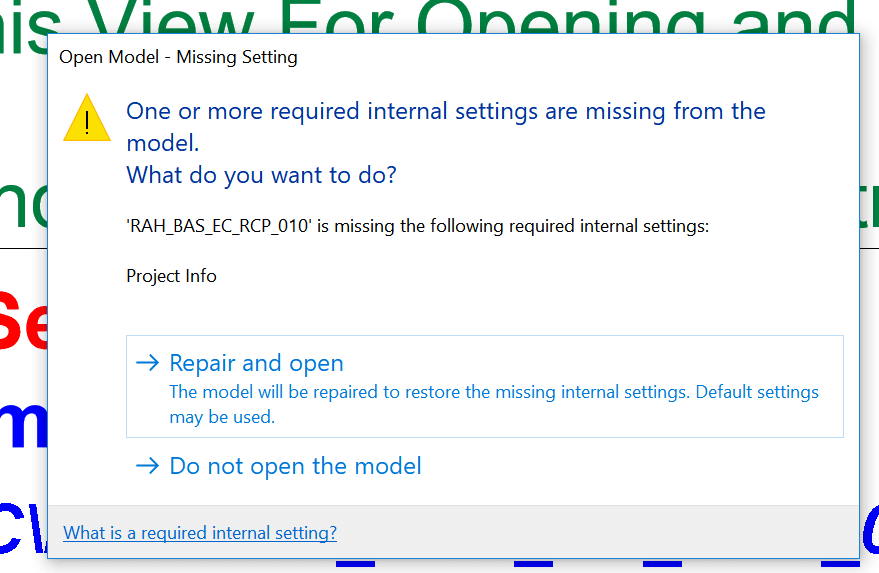 "Revit 2018 New Feature and ""One or more required internal settings are missing"""
