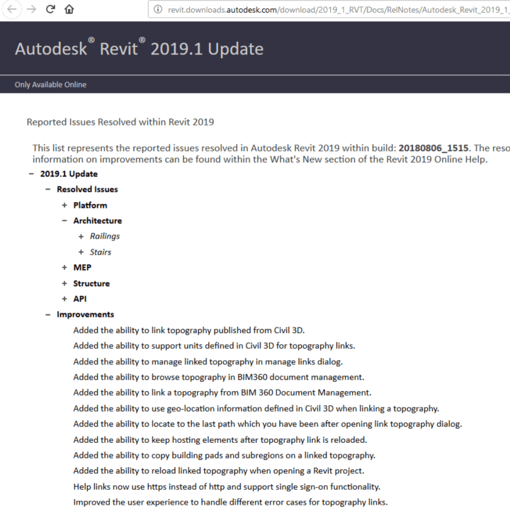 Revit 2019.1 Update and Navisworks 2019.1 Update Direct Links