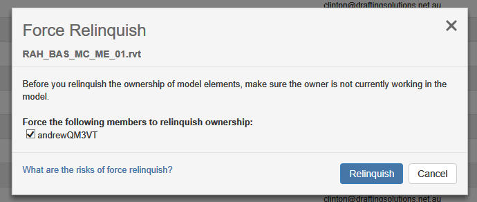 Choose the User and then click Relinquish